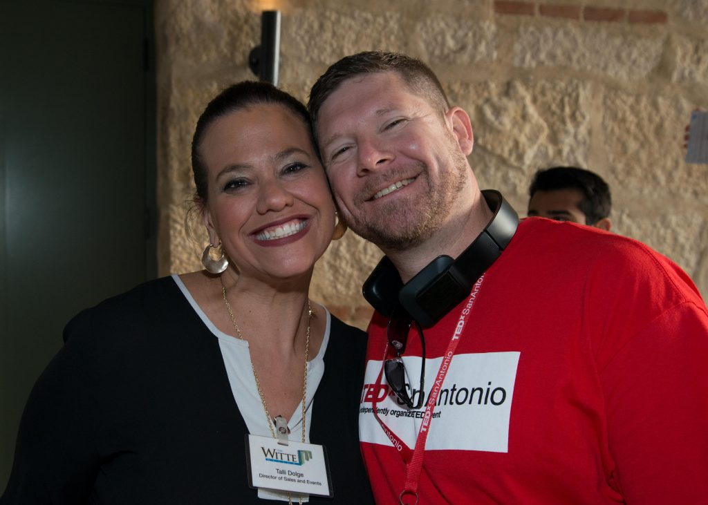 Talli Dolge, representing one of our sponsors, the Witte Museum poses with Tony Bryden, one of the TEDxSanAntonio Organizers